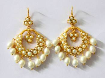 BEAUTIFUL PEARLS STUDDED CHAND BALI