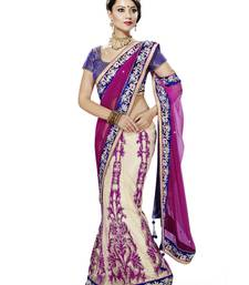 Tusher And Rani Embroidered Net Saree With Blouse