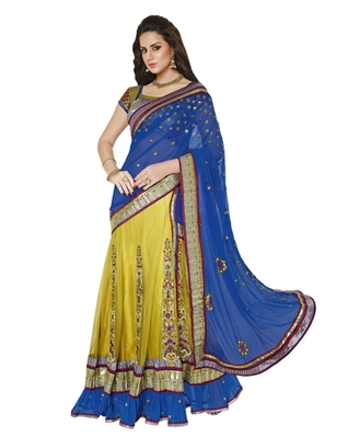 Blue And Shaded Neon Green embroidered Net And Satin saree with blouse