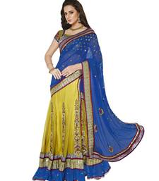 Buy Blue And Shaded Neon Green embroidered Net And Satin saree with blouse lehenga-saree online