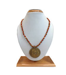 Buy Brass Beaded Dhokra (Tribal) Necklace With Circular Pendant Style 3 (Red) Necklace online