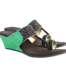 Gorgeous Green Black Kolhapuri Style Wedges