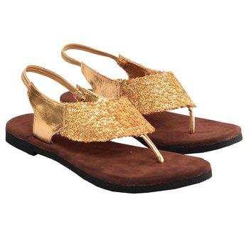 Glossy Golden Sequine Brown Sandle