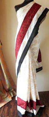 Attractive tri-color jacquard saree - cream, maroon & black - KIARRA