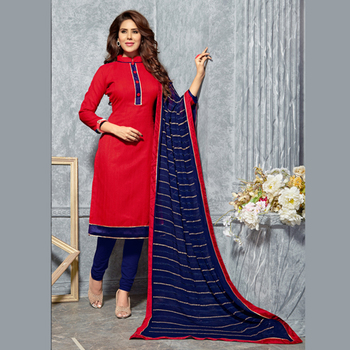 636356a363 Red and Navy Blue Plain Dress Material with heavy Embroidered Dupatta Jute  Silk Unstitched - Swaron - 689507