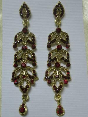 Dazzling Red & Golden stone earrings