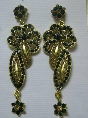 Dazzling Green & Golden stone earrings