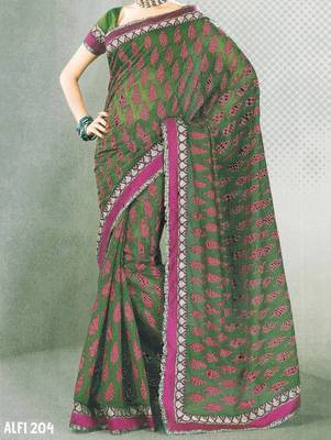 Designer cotton saree - printed cotton sari - exclusive designer saree - ethnic border - 902634 204