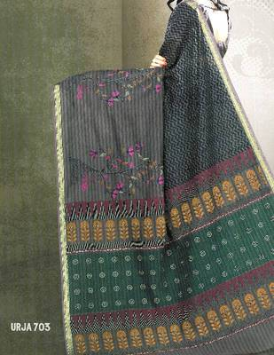 Embroidered cotton saree - printed cotton sari - exclusive designer saree - ethnic border - 902635 703