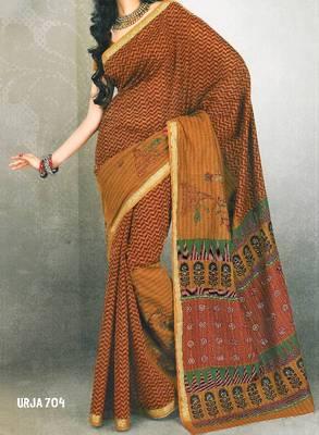 Embroidered cotton saree - printed cotton sari - exclusive designer saree - ethnic border - 902635 704