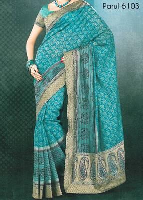 Embroidered cotton saree - printed cotton sari - exclusive designer saree - ethnic border 902636 6103