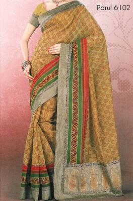 Embroidered cotton saree - printed cotton sari - exclusive designer saree - ethnic border - riyaa