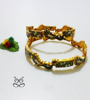 Gold Plated Peacock Bangles