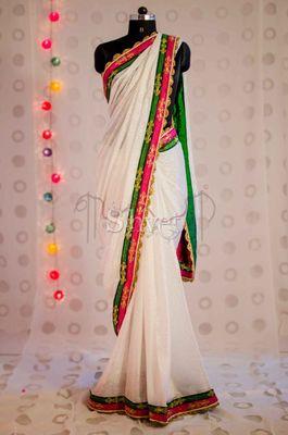 White Jacquard Saree