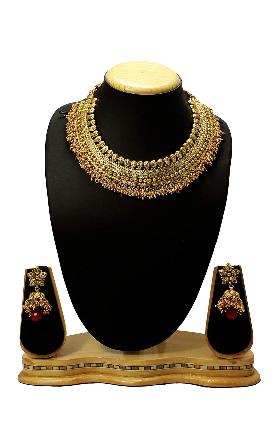 c3af21b546 Latest Indian Traditional & Antique Design One Gram Gold Bridal Jewellery  Necklace Set - Satyam Jewellery NX - 691490