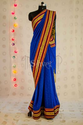 Conventional Blue and Red Saree