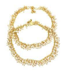 Buy Traditional Design & Antique Golden Polish with White Pearl Anklets for Fashion jewellery anklet online