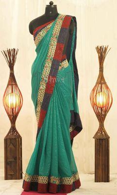 Rama Green with gold Cutwork border Saree