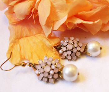 Pink Crystal Flower And Pearl Earrings