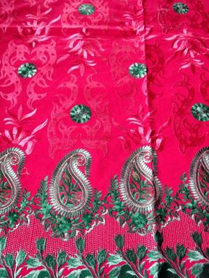 DRESS MATERIAL WITH DUPATTA KASHMIR REDISH MAROON EMBROIDERY ZARI   ALL OVER