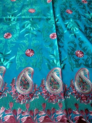 TURQUOISE  ZARI EMBROIDERT DRESS MATERIAL WITH DUPATTA IN CAMBRIC COTTON