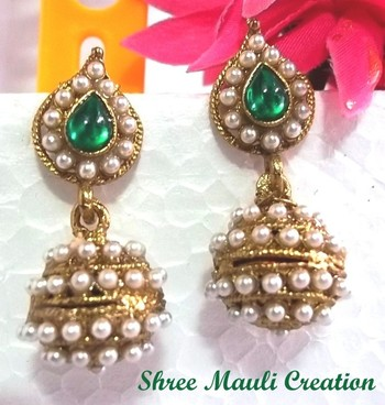 Green leaf pearl jhumki earrings