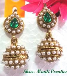 Buy Green Leaf Pearl Jhumki Earrings jhumka online