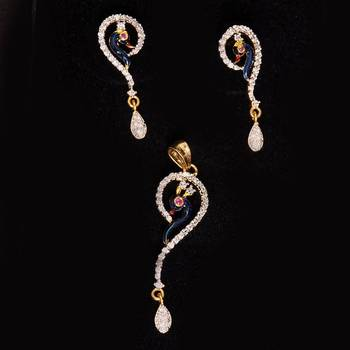 Genuine Peacock Cz American Diamond Pendant  Set
