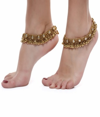 OXIDISED ANTIQUE GOLD PAYAL ANKLET PAIR