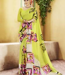 Buy Light Green Printed Georgette Saree with blouse georgette-saree online