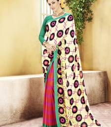 Buy Cream and  Red Printed Georgette Saree with blouse georgette-saree online