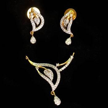 Elegant Cz American  Diamond Mangalsutra Pendant