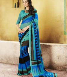 Buy Blue and  Black Printed Georgette Saree with blouse georgette-saree online
