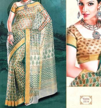 Supernet saree - Super net sari - Printed Saree - Ethnic border - With blouse - 902638 2514