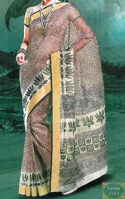 Supernet saree - super net sari - printed saree - ethnic border - with blouse - 902638 2513