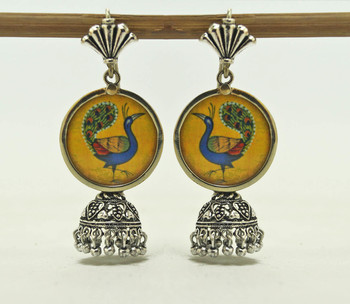 peacock ethnic miniature art jhumki