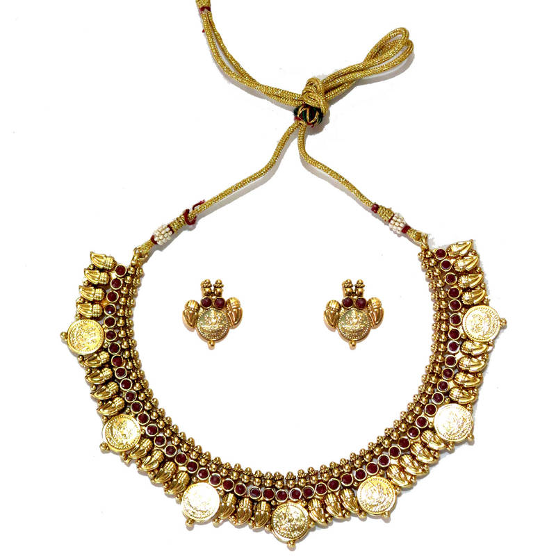 Kanjivaram Beads: Traditional Beads And Coins Necklace Set -Red