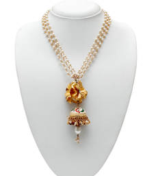 Buy Gold Foil Flower & Pearl Necklace Necklace online