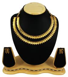 Buy Traditional Gold Plated Double Line Temple Coin Design Ginni Necklace Set necklace-set online