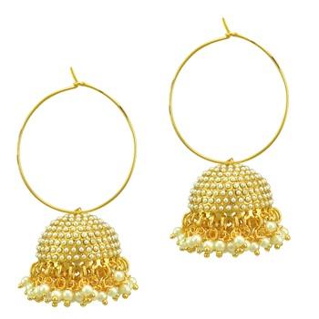Ethnic Indian Bollywood Fashion Jewelry Set Hoop Jhumki Earrings