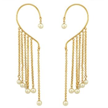 Ethnic Indian Bollywood Fashion Jewelry Set Non-pierced Cuff Earrings