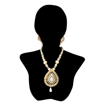 Traditional Indian Bollywood Necklace Set, Pearl Polki Necklace Set