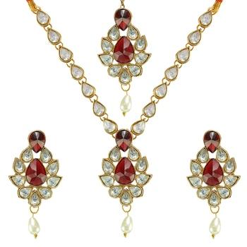 Ethnic Indian Bollywood Fashion Jewelry Set Stone Necklace Set