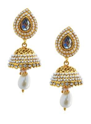 Filigree pearly golden jhumka-RAE0042