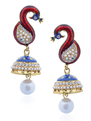 Rock n'roll peacock blue-maroon jhumka-RAE0044