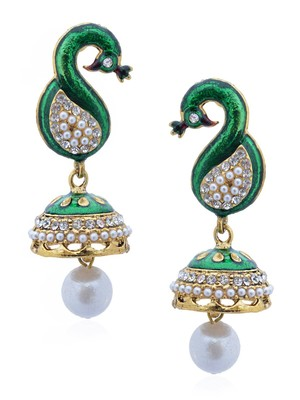 Rock n'roll peacock bubble jhumka-RAE0045