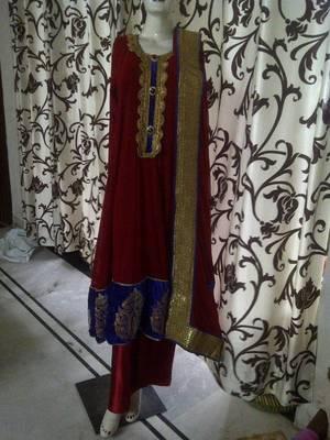 Blood Red Long Anarkali Suit