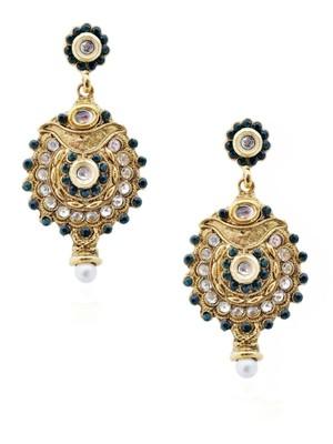 Precise Ornate Green Antique Earrings-RAE0060