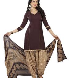 Buy Brown Printed Polyester Salwar Kameez dress-material online