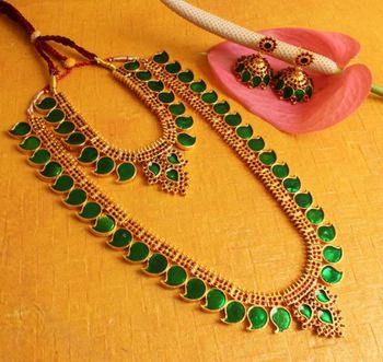 Awesome Gold Plated Kerala Style Mango Palakka Haar Set